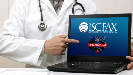 Doctor pointing to laptop with HIPAA compliant badge