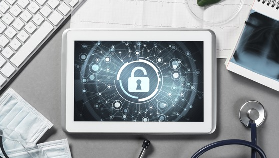 secure lock icon on tablet on doctor's table